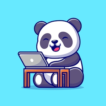 Netter panda, der an laptop-karikatur-symbol-illustration arbeitet. tier-technologie-symbol-konzept isoliert. flacher cartoon-stil