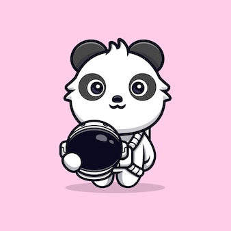 Netter panda, der astronautenanzug trägt und helm hält. tierkarikatur-maskottchen-vektorillustration