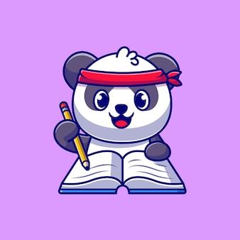 Netter panda, der auf buch mit bleistift-cartoon-symbolillustration schreibt.