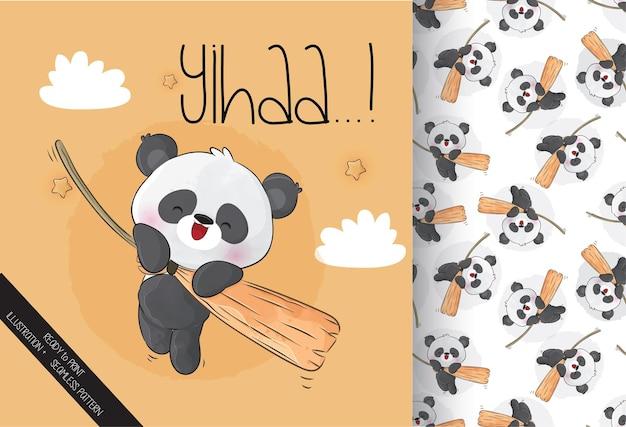 Netter panda, der auf magischem besen fliegt, glückliches halloween