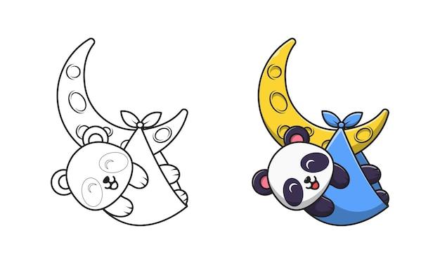 Netter panda, der auf mondkarikatur zum färben spielt