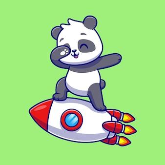 Netter panda, der auf rakete-karikatur-vektor-icon-illustration tupft. tiertechnologie-symbol-konzept isoliert premium-vektor. flacher cartoon-stil