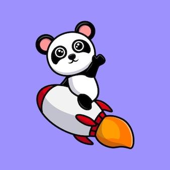 Netter panda, der auf rakete sitzt und handkarikaturmaskottchen winkt
