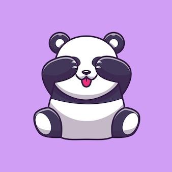 Netter panda, der augen-symbol-illustration schließt. panda maskottchen zeichentrickfigur. tierikon-konzept isoliert