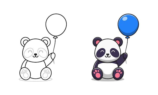 netter panda, der ballonkarikatur zum färben hält