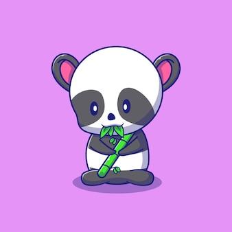 Netter panda, der bambusillustration hält. panda maskottchen zeichentrickfiguren tiere symbol konzept isoliert.