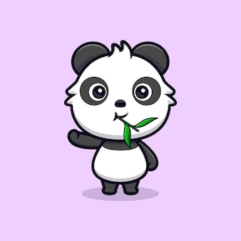 Netter panda, der blatt isst und hand winkt. tierkarikatur-maskottchen-vektorillustration