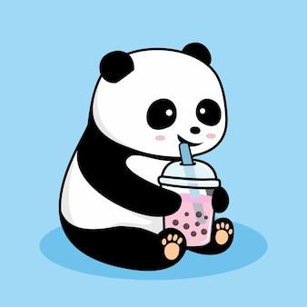 Netter panda, der boba-karikatur trinkt