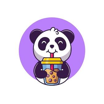 Netter panda, der boba-milchtee-karikatur-vektor-illustration tierfutter-konzept-isolierter vektor trinkt. flacher cartoon-stil