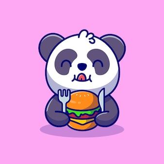 Netter panda, der burger mit gabel- und messer-cartoon-symbolillustration isst.