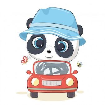 Netter panda, der das auto fährt. Premium Vektoren