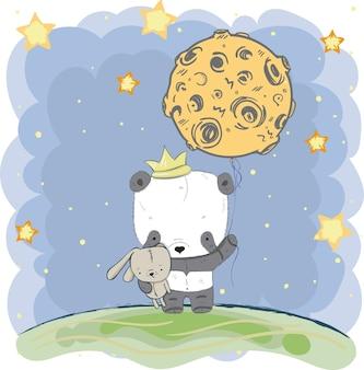 Netter panda, der den mond hält