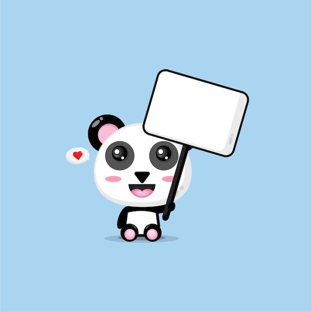Netter panda, der ein leeres zeichen hält