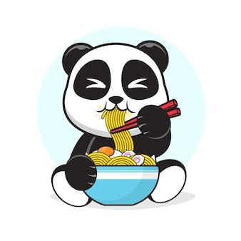 Netter panda, der eine ei-ramen-nudel-karikaturillustration isst.