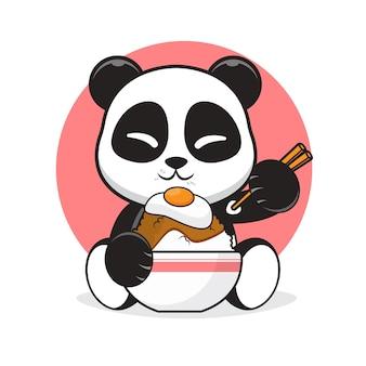 Netter panda, der eine ei-reisschüssel-karikaturillustration isst.