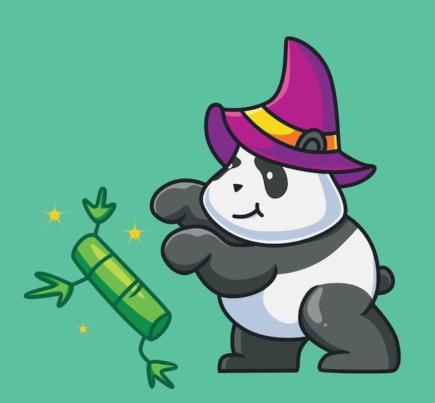Netter panda, der eine magie spielt, die ein bambuskarikaturtier-halloween-konzept fliegt isolierte illustration