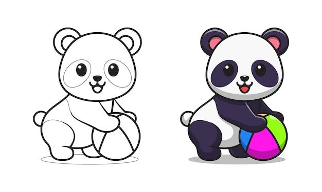 Netter panda, der eine strandballkarikatur zum färben hält
