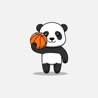 Netter panda, der einen basketball trägt