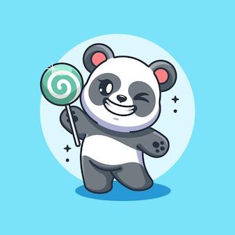 Netter panda, der einen lutscher-cartoon hält