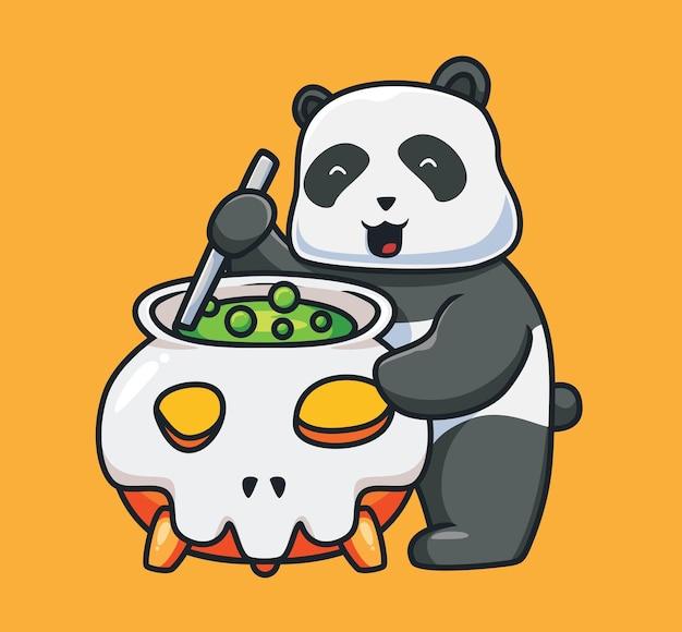 Netter panda, der einen trankkarikaturtier-halloween-ereigniskonzept kocht isolierte illustration flat