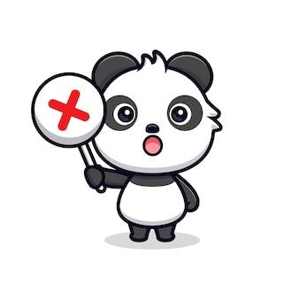 Netter panda, der falsches zeichen oder kreuzzeichen hält. tierkarikatur-maskottchen-vektorillustration
