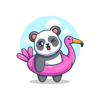 Netter panda, der flamingoschwimmringkarikatur trägt