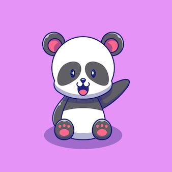 Netter panda, der handillustration wellenartig bewegt. panda maskottchen zeichentrickfiguren tiere symbol konzept isoliert.