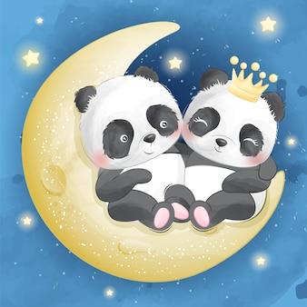 Netter panda, der in einem mond sitzt