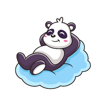 Netter panda, der in wolken-symbol-illustration schläft. tier maskottchen zeichentrickfigur. auf weißem hintergrund isoliert
