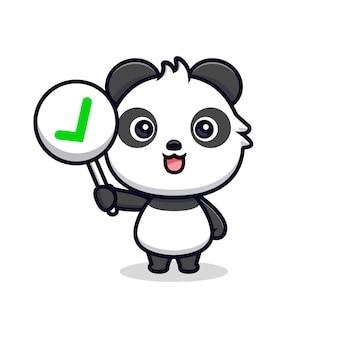 Netter panda, der korrektes zeichen oder checklistenzeichen hält. tierkarikatur-maskottchen-vektorillustration
