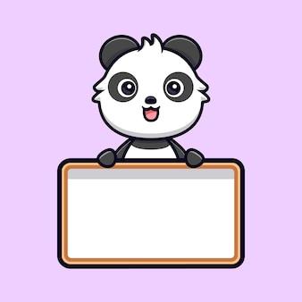 Netter panda, der leeres textbrett hält. tierkarikatur-maskottchen-vektorillustration