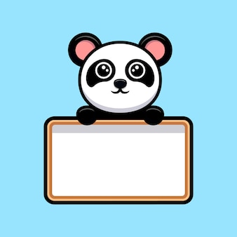 Netter panda, der leeres whiteboard-karikaturmaskottchen hält