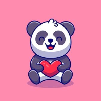 Netter panda, der liebeskarikatur-symbol-illustration hält.