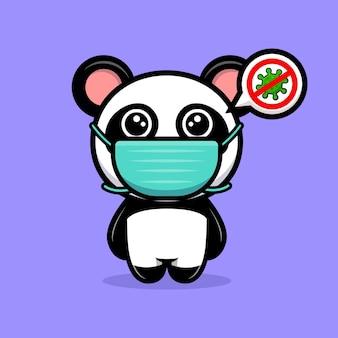 Netter panda, der maske trägt, um virenkarikaturmaskottchen zu verhindern