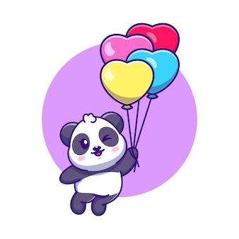 Netter panda, der mit ballonkarikatur schwimmt