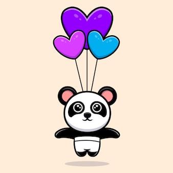 Netter panda, der mit herzballonkarikaturmaskottchen fliegt