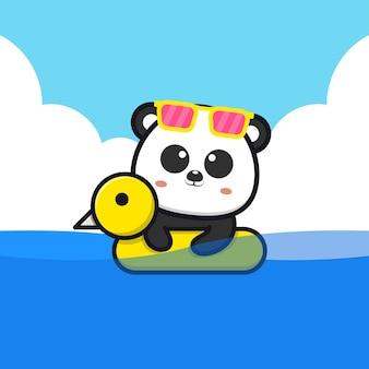 Netter panda, der mit schwimmringkarikaturillustration schwimmt