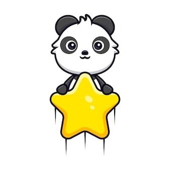 Netter panda, der mit stern schwimmt. tierkarikatur-maskottchen-vektorillustration