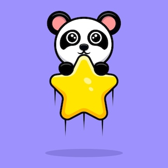Netter panda, der mit sternkarikaturmaskottchen schwimmt