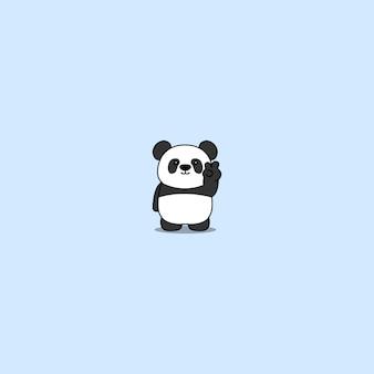Netter panda, der siegeszeichen tut