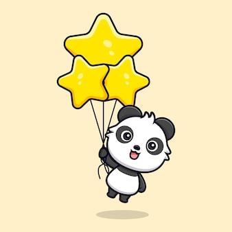 Netter panda, der sternballon hält. tierkarikatur-maskottchen-vektorillustration