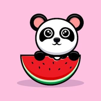 Netter panda, der wassermelonenfruchtkarikaturmaskottchen isst