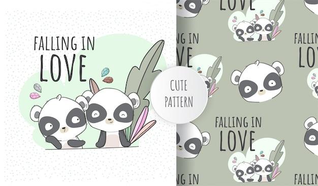 Netter panda des flachen nahtlosen musters in der liebe