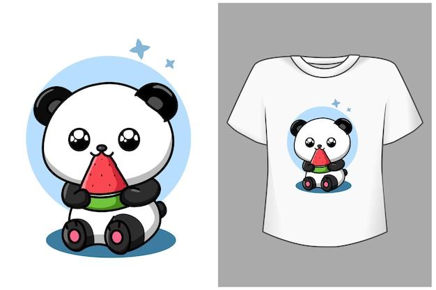 Netter panda des modells mit wassermelonen-karikaturillustration