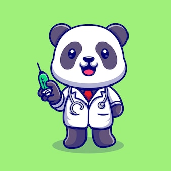 Netter panda-doktor mit spritze-karikatur-vektor-symbol-illustration. tiergesundheit symbol konzept isoliert premium-vektor. flacher cartoon-stil