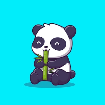 Netter panda essen bambus-karikatur-symbol-illustration. tierikon-konzept isoliert. flacher cartoon-stil