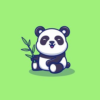 Netter panda essen bambus-karikatur-symbol-illustration. tierikon-konzept isoliert. flacher cartoon-stil