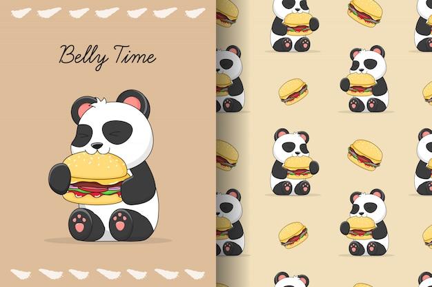 Netter panda essen burger nahtloses muster und karte