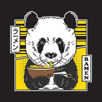 Netter panda essen japanische nudel-ramen-illustration im flachen comic-stil