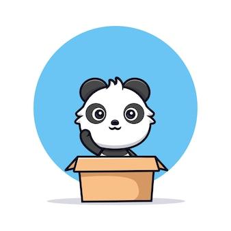 Netter panda innerhalb der box und winkender pfote. tierkarikatur-maskottchen-vektorillustration